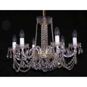6 Arms glass crystal chandelier with cut crystal almonds