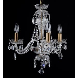 3-Arm crystal chandelier with crystal almonds