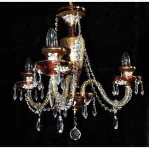 Small 3 Arms Ruby enameled crystal chandelier with glass flowers