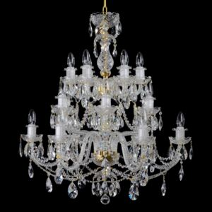 18-arm crystal chandelier with cut crystal almonds