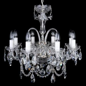 8-arm silver crystal chandelier with cut crystal almonds and glass horns