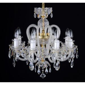 8-arm crystal chandelier with long twisted glass arms
