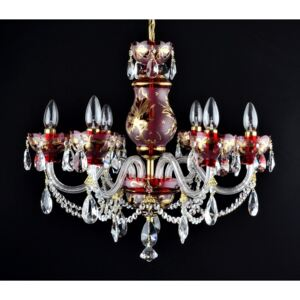 6-arm ruby red crystal chandelier with hand painting - Gold leaves