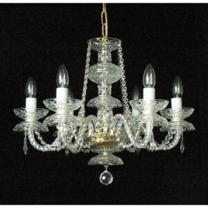 6-arm simple crystal chandelier with cut crystal drops
