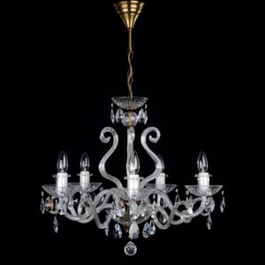 5-arm crystal chandelier with glass horns & cut crystal almonds ANTIK