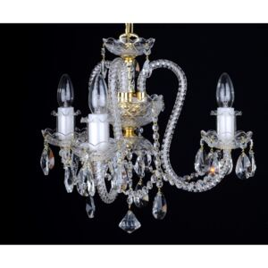 3-arm crystal chandelier with long twisted glass arms