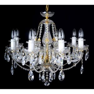 8-arm crystal chandelier with smooth glass arms & Cut almonds