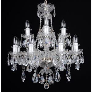 12-arm silver crystal chandelier with cut crystal almonds