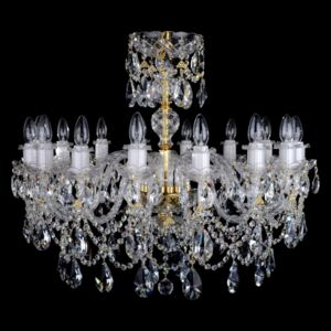16-arm luxury crystal chandelier with twisted glass arms & cut almonds