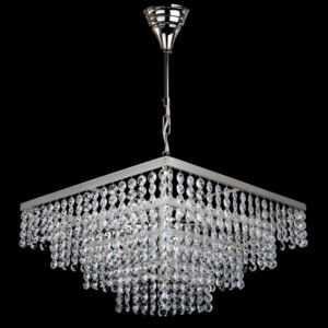6-bulb silver square strass crystal chandelier - Glittering cut octagons