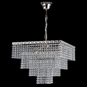 4-bulb silver square strass crystal chandelier with gittering cut octagons