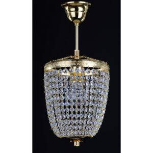 1-bulb basket crystal chandelier with cut strass crystal chains
