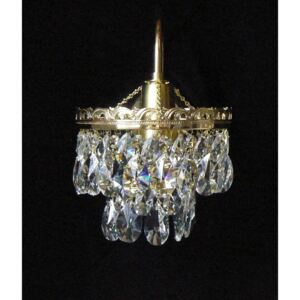 1-arm crystal wall light with metal arm & cut crystal almonds