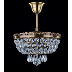 2-bulb brown stained basket crystal chandelier with cut drops