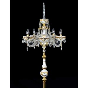 5 Arms White high crystal floor lamp with glass flowers on the Gold background