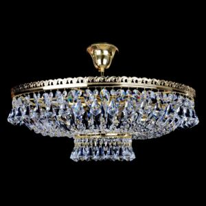 6-bulb glittering basket crystal chandelier with diamond-shaped crystals