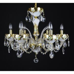 6-arm white crystal chandelier with glass flowers on the gold base