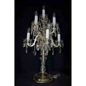 9-bulb high crystal Theresian table lamp with cut almonds - Candelabra