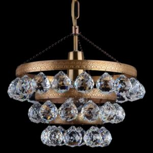 Small basket chandelier in color of bronze with crystal balls