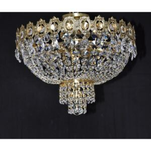 5 bulbs Surface-mounted basket crystal chandelier with small almonds