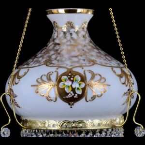 White glass chandelier decorated with Bohemian high enamel - Glass flowers