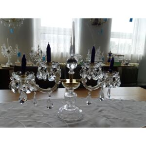 Theresian crystal candlestick with cut crystal spike for 4 candles