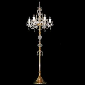 6-arm gold crystal floor lamp with crystal almonds - Polished brass
