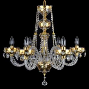 6-arm glass crystal chandelier with enamelled flowers on the gold base