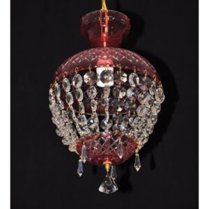 Red basket design crystal chandelier with hand cut