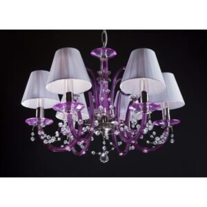 6-arm modern purple chandelier with crystal pearls & lampshades