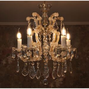 5 flames Maria Theresa crystal chandelier with Pendeloques & Decorated bobeches