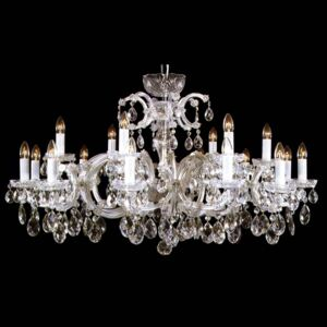 18-flame wide silver Maria Theresa crystal chandelier with crystal almonds