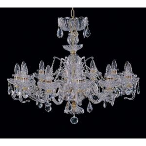 12-arm hand cut crystal chandelier with glass arms & cut almonds