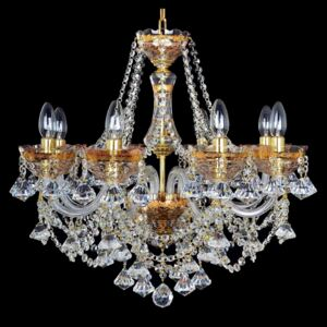 8-arm crystal chandelier decorated with 24K gold and diamond-shaped trimmings