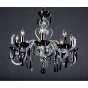 8-arm modern black crystal chandelier with cut hooves