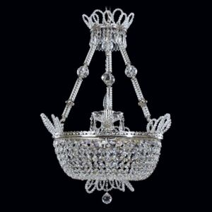 Silver basket chandelier for the bedroom - cut pearls