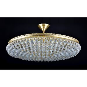 12-bulb large surface-mounted chandelier formed by crystal balls & Matt brass