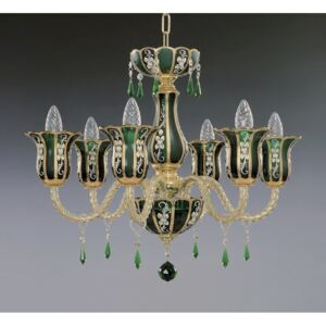 6-arm green crystal chandelier made of panelled art glass