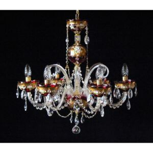 6-arm ruby red bohemian crystal chandelier decorated with high enamel & 6 glass horns