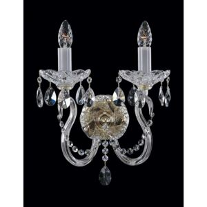 2-arm hand cut crystal wall light with almonds and profiled glass arms