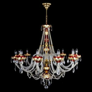 12-arm ruby red bohemian crystal chandelier decorated with high enamel