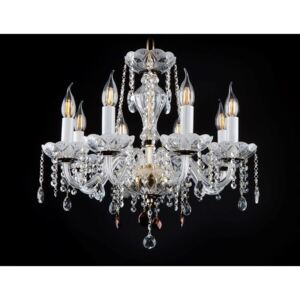 8-arm crystal chandelier with sandblasted bowls and colored almonds