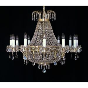 12-arm basket chandelier made of cast brass with strass stones