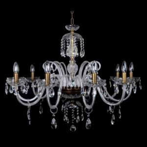 10-arm brown crystal chandelier with cut almonds - eg above the dining table