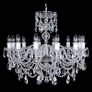 12-arm silver crystal chandelier with twisted glass arms & cut almonds