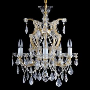 5-flame Maria Theresa chandelier with cut bobeches & trimmings in the French style