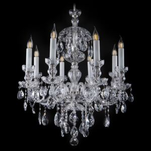 8-arm castle crystal chandelier made of cut blown glass with tulips
