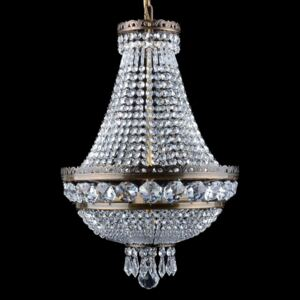3-bulb strass basket crystal chandelier with large cut octagons & crystal drops ANTIK