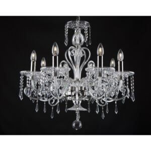 Silver 8-arm crystal chandelier in the style of Bohemian Baccarat