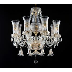 8-arm Bohemian crystal chandelier with vases - High enamel on a golden background